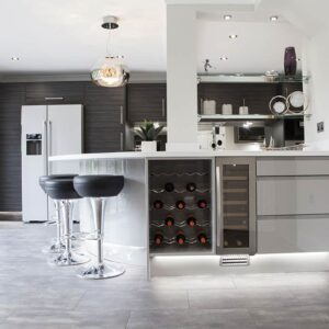 wine rack and fridge