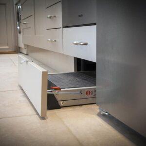 Taupe Painted Mackintosh Shaker Kitchen Design in Emsworth folding steps under plinth storage