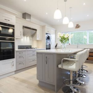 Taupe Painted Mackintosh Kitchen Design by Lorna one of our in house designers from Herbert William