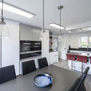 Bespoke Intuo kitchen in white with grey accent
