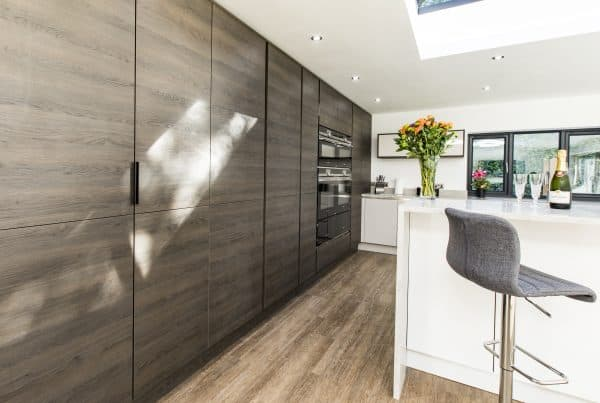 Mackintosh Gladstone Oak woodgrain-effect range with the Metrica Gloss in cashmere