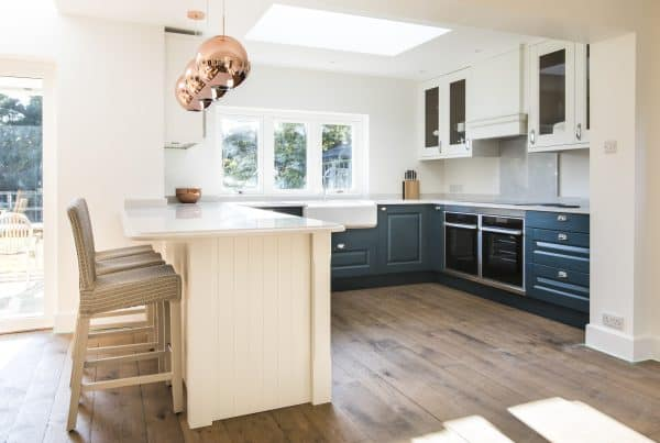 Copper, grey, and blue colour palette for new Kitchen Design