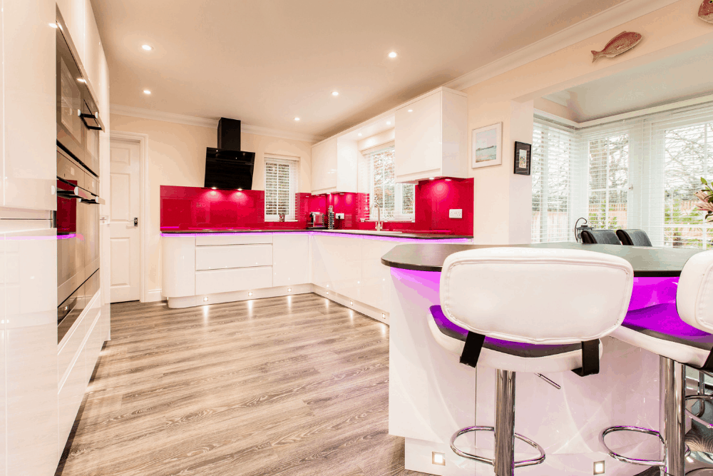 Modern Gloss white kitchen with a vibrant twist